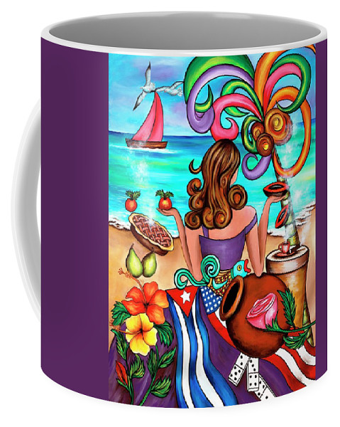 Cuba Coffee Mug featuring the painting Generation Spanglish by Annie Maxwell