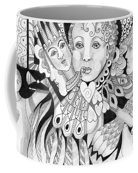 Dual Nature Coffee Mug featuring the drawing Gentle And Savage by Helena Tiainen