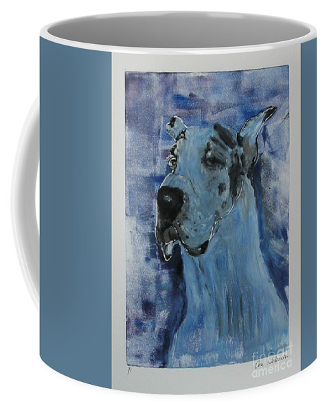 Great Dane Coffee Mug featuring the mixed media Gentle Giant by Cori Solomon