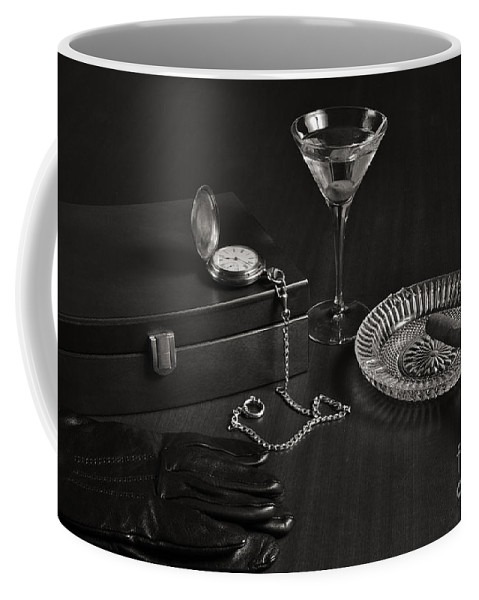 Gentleman Coffee Mug featuring the photograph Gentleman's Pause In Monochrome by Angelo DeVal