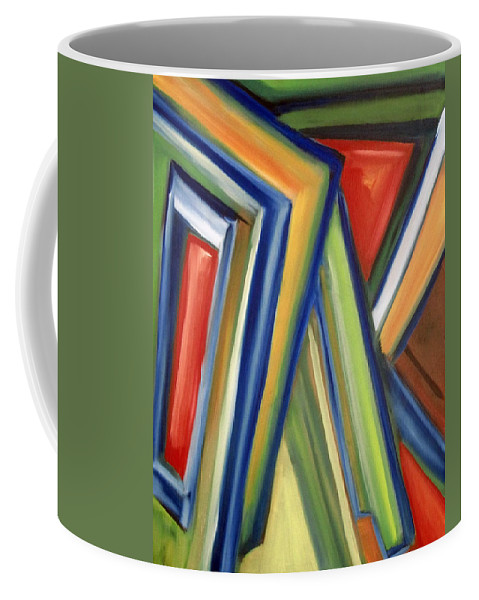 Rectangles Coffee Mug featuring the painting Geometric Tension Series V by Patricia Cleasby