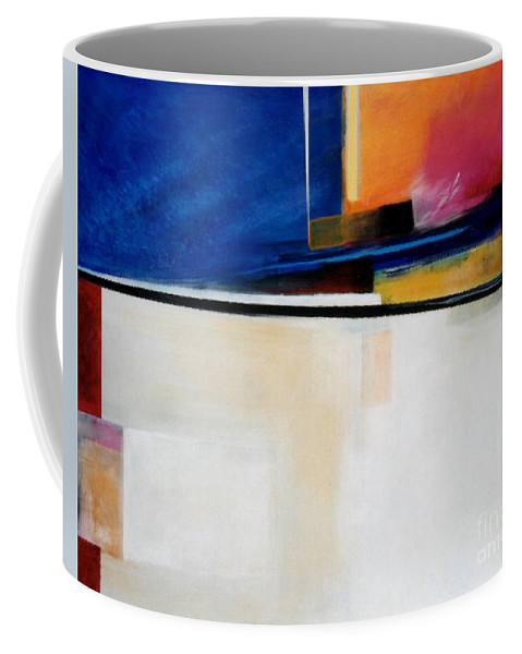 Abstract Coffee Mug featuring the painting Geometrics 4 Lights Out by Marlene Burns