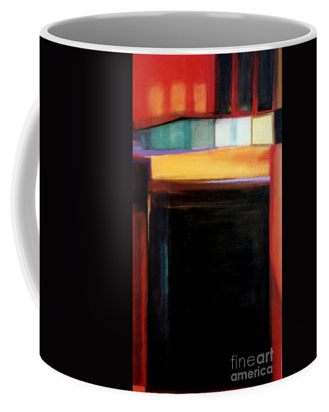 Abstract Coffee Mug featuring the painting Geometrics 4 Loose Ends by Marlene Burns