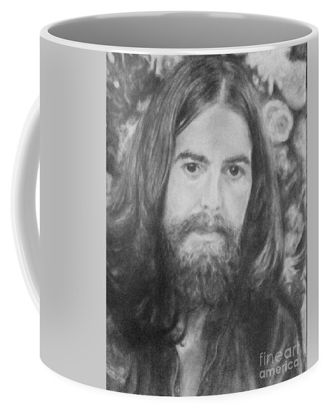 Coffee Mug featuring the drawing George Harrison by Holly Bohannon