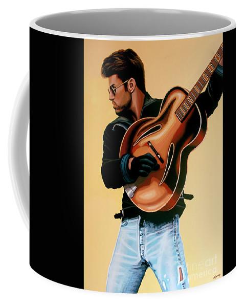 George Michael Coffee Mug featuring the painting George Michael Painting by Paul Meijering