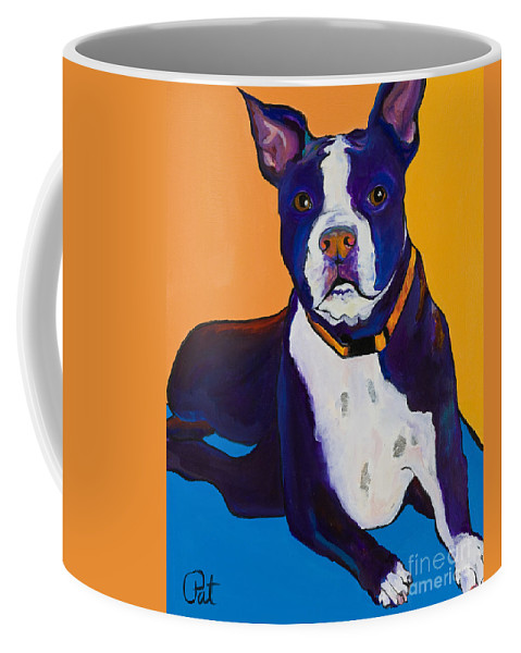 Boston Terrier Coffee Mug featuring the painting Georgie by Pat Saunders-White