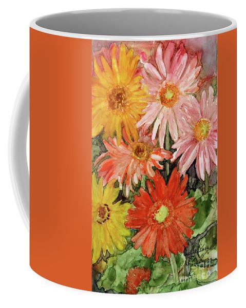 Gerbera Daisies Coffee Mug featuring the painting Gerbera by Vicki Baun Barry