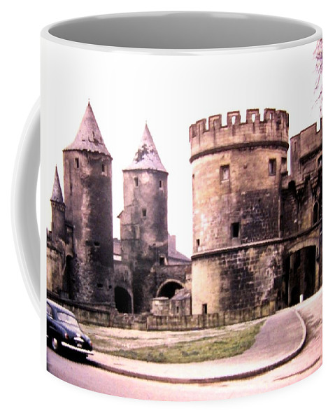 1955 Coffee Mug featuring the photograph German Gate In Metz 1955 by Will Borden