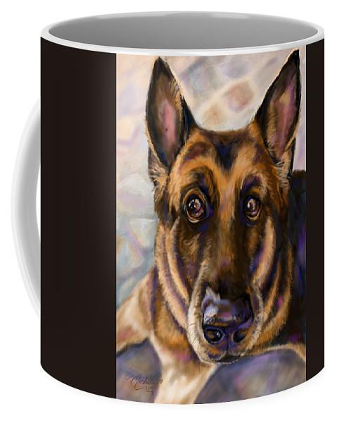 German Shepherd Portrait Coffee Mug featuring the digital art German by Michelle Cerrito-Nazzaro