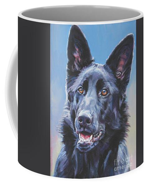 German Shepherd Black Coffee Mug featuring the painting German Shepherd Black by Lee Ann Shepard