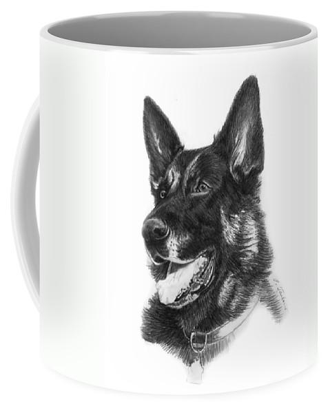 German Shepherd Coffee Mug featuring the drawing German Shepherd Head by Phyllis Tarlow