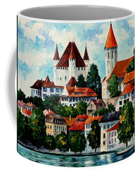 Afremov Coffee Mug featuring the painting Germany - Clouds Above The Rhine by Leonid Afremov