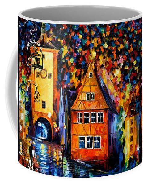 Afremov Coffee Mug featuring the painting Germany - Medieval Rothenburg by Leonid Afremov