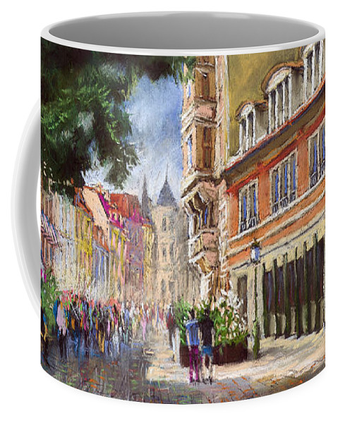 Pastel Coffee Mug featuring the painting Germany Baden-baden Lange Str by Yuriy Shevchuk