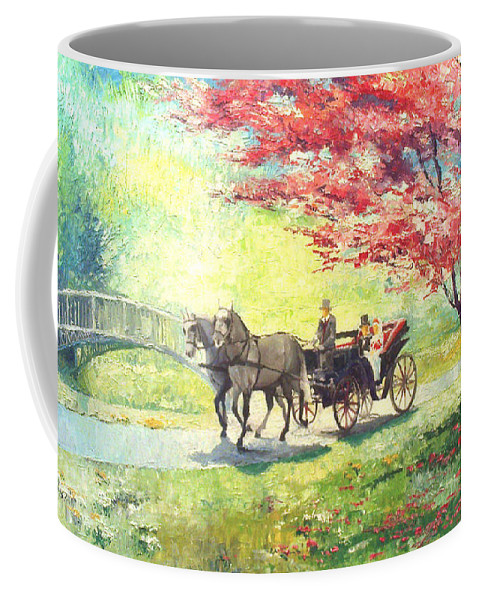 Allee Coffee Mug featuring the painting Germany Baden-baden Lichtentaler Allee Spring 2 by Yuriy Shevchuk