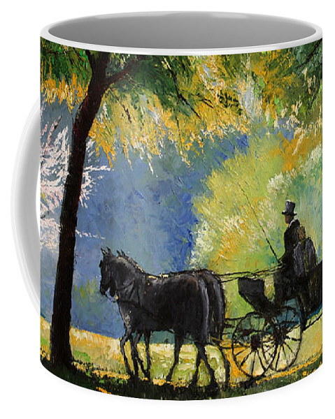 Oil Coffee Mug featuring the painting Germany Baden-Baden Lichtentaler Allee Spring by Yuriy Shevchuk