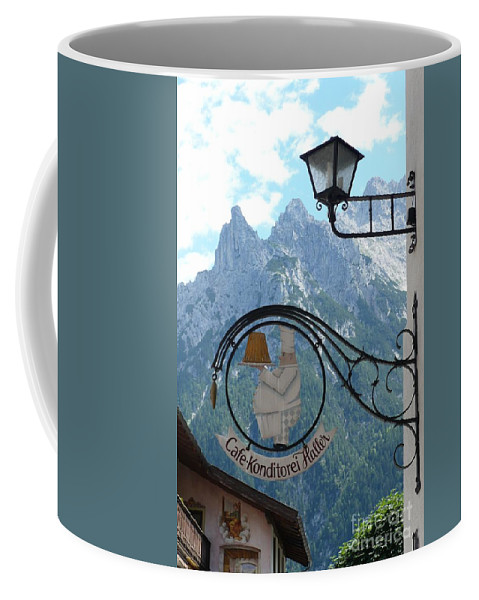 Bavarian Alps Coffee Mug featuring the photograph Germany - Cafe Sign by Carol Groenen