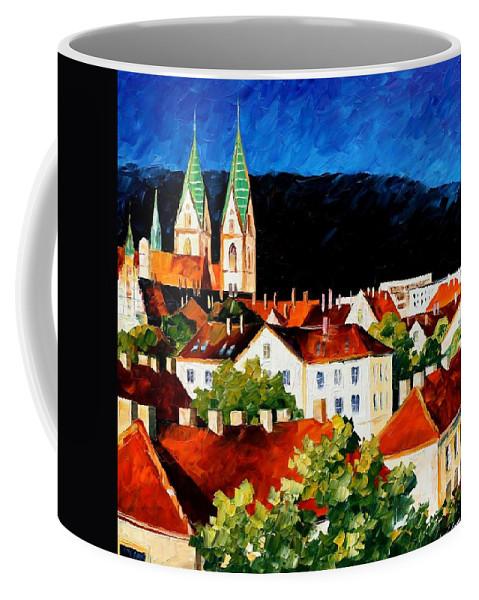 Afremov Coffee Mug featuring the painting Germany Freiburg by Leonid Afremov
