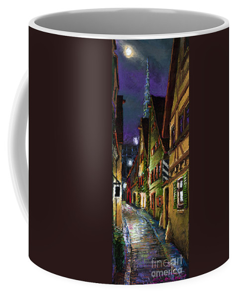 Pastel Coffee Mug featuring the painting Germany Ulm Old Street Night Moon by Yuriy Shevchuk