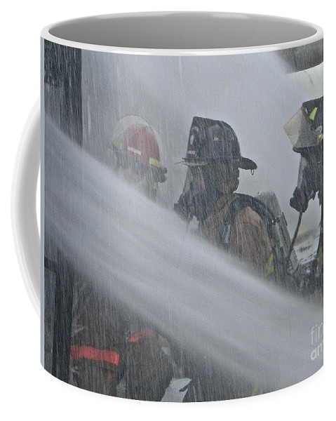 Firefighter Coffee Mug featuring the photograph Getting Wet by Rick Monyahan
