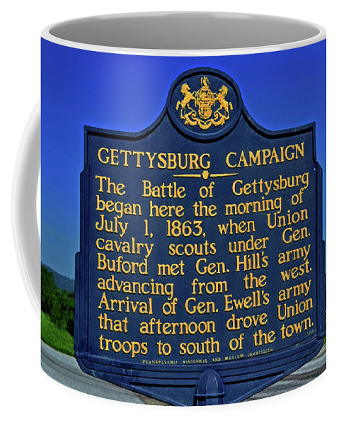 Road Marker Coffee Mug featuring the photograph Gettysburg Campaign by George Bostian