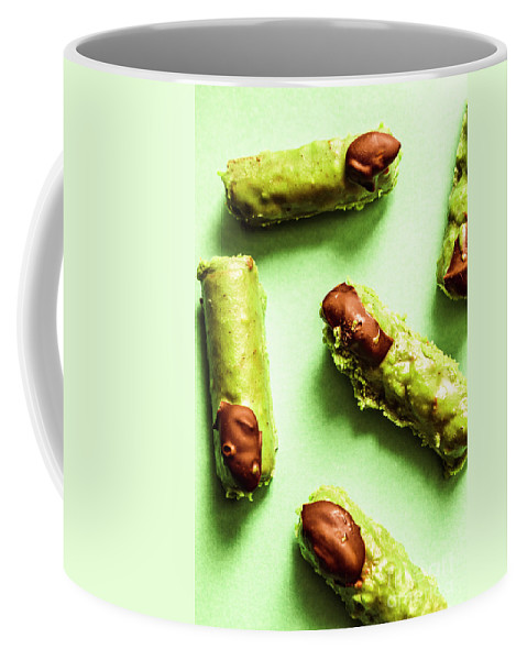 Spooky Coffee Mug featuring the photograph Ghastly Green Halloween Finger Food by Jorgo Photography - Wall Art Gallery