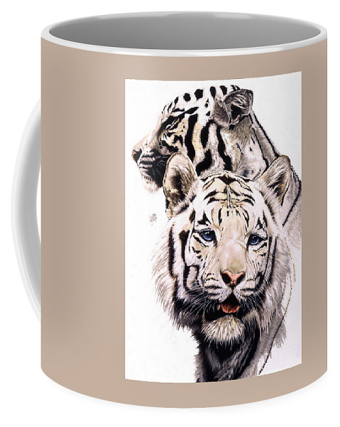 Tiger Coffee Mug featuring the drawing Ghost by Barbara Keith