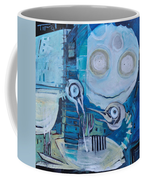 Bird Coffee Mug featuring the painting Ghost Birds At Play by Tim Nyberg