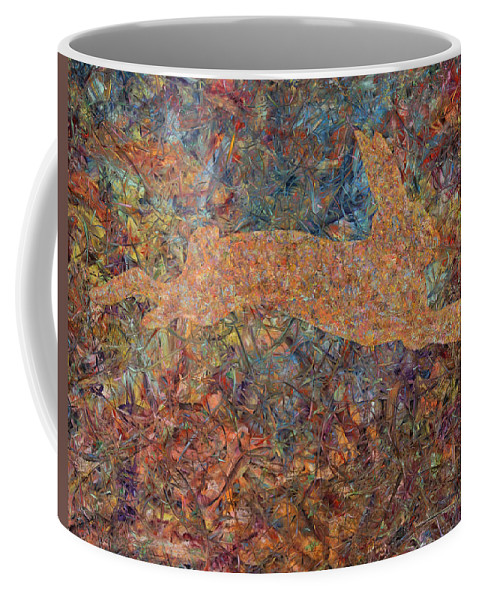 Abstract Coffee Mug featuring the painting Ghost Of A Rabbit by James W Johnson