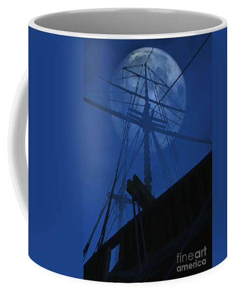 Ghost Ship Coffee Mug featuring the digital art Ghost Ship by Richard Rizzo