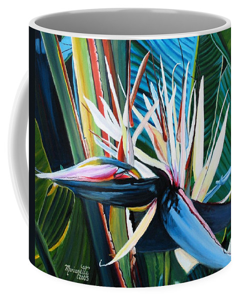 Bird Coffee Mug featuring the painting Giant Bird Of Paradise by Marionette Taboniar