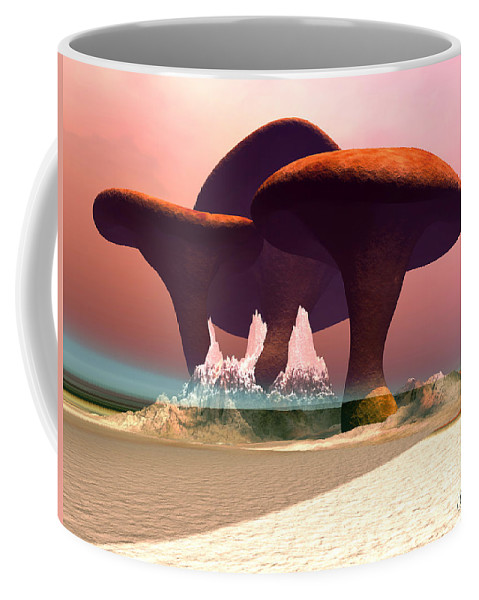 Mushroom Coffee Mug featuring the painting Giant Mushrooms by Corey Ford