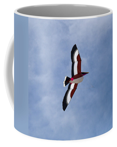 Pelican; Kite; Giant; Soaring; Fly; Flying; Spring; Break; Fesival; Fest; Kitefest; Florida; Melbour Coffee Mug featuring the photograph Giant Pelican Searching For Prey by Allan Hughes