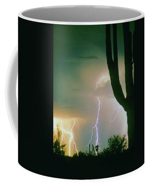 Lightning Coffee Mug featuring the photograph Giant Saguaro Cactus Lightning Storm by James BO Insogna