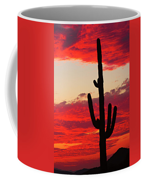 Sunset Coffee Mug featuring the photograph Giant Saguaro Southwest Desert Sunset by James BO Insogna