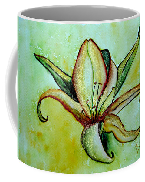 Floral Coffee Mug featuring the painting Gilded Lily by Donna Blackhall