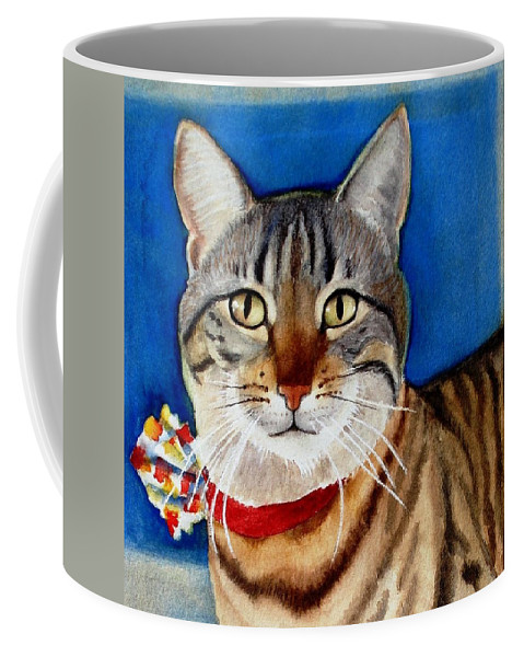 Cat Coffee Mug featuring the painting Ginger by Marilyn Jacobson