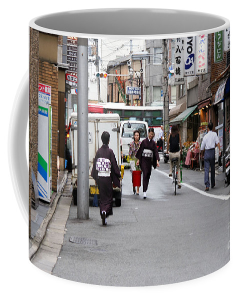 Kyoto Coffee Mug featuring the photograph Gion District Street Scene Kyoto Japan by Thomas Marchessault