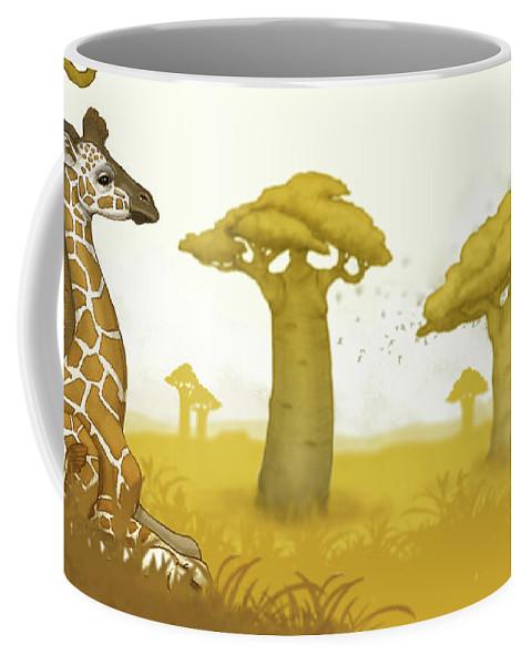 Giraffe Coffee Mug featuring the digital art Giraffe And Savanna by Catherine Noel