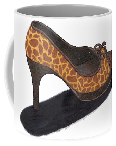 Shoe Coffee Mug featuring the drawing Giraffe Heels by Jean Haynes