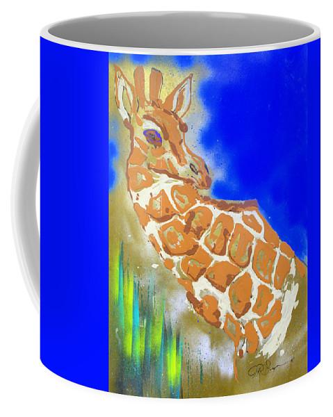 Giraffe Coffee Mug featuring the painting Giraffe by J R Seymour