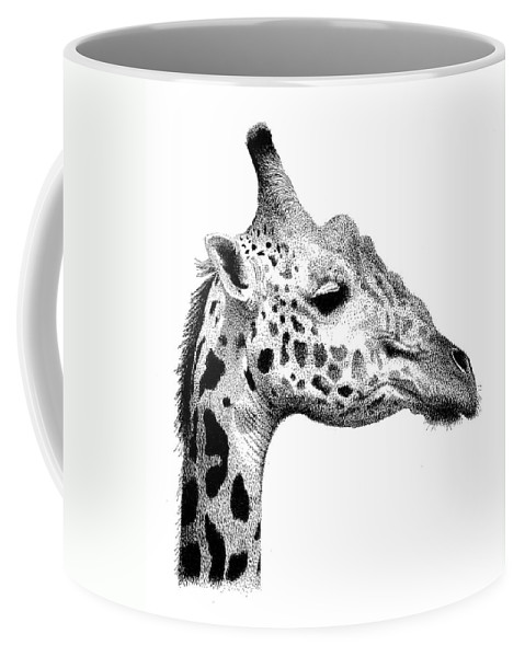 Giraffe Coffee Mug featuring the drawing Giraffe by Scott Woyak
