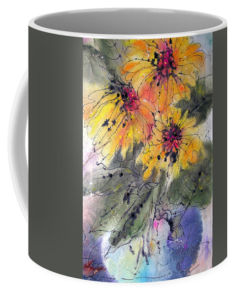 Floral Coffee Mug featuring the painting Girasoli by Barbara Colangelo