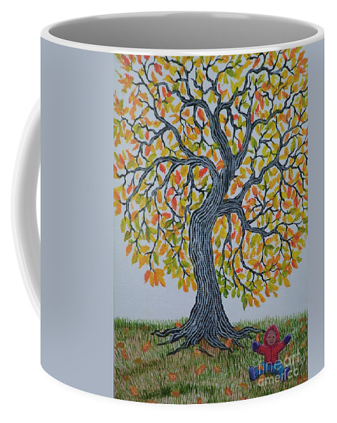 Girl Coffee Mug featuring the painting Girl And Leafs by Nick Gustafson
