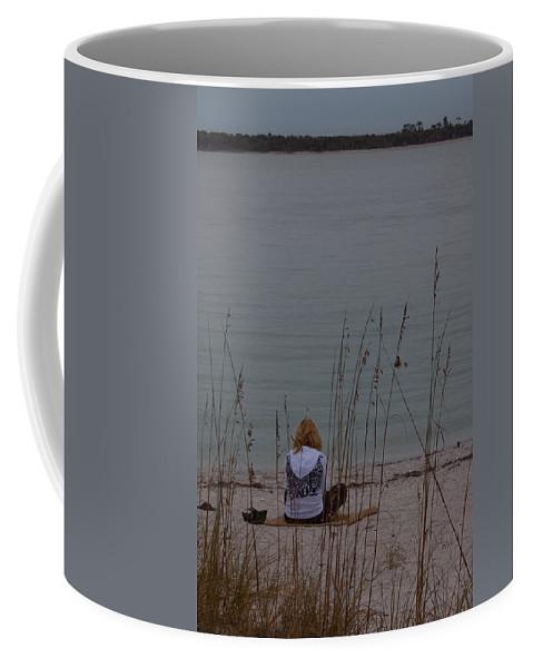 Beach Coffee Mug featuring the photograph Girl At Beach by Ed Gleichman