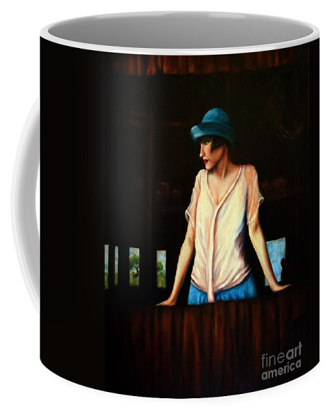 Adult Coffee Mug featuring the painting Girl In A Barn by Georgia's Art Brush