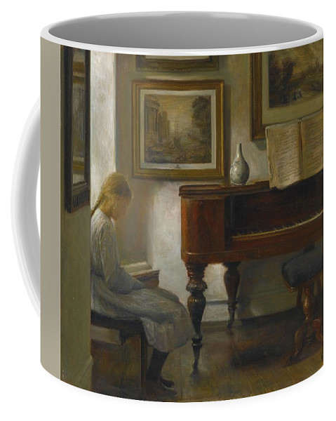 Carl Vilhelm Holsøe (danish Coffee Mug featuring the digital art Girl In An Interior by Mark Carlson