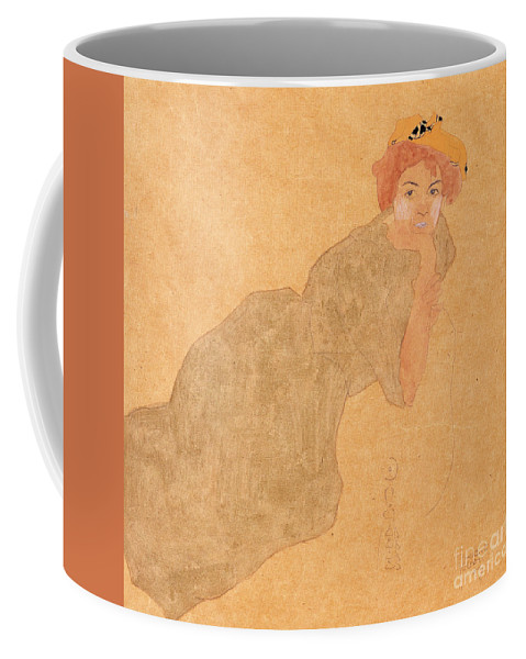 Schiele Coffee Mug featuring the painting Girl In Olive Coloured Dress With Propped Arm by Egon Schiele