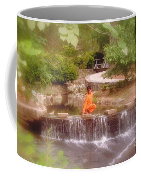 Black Ebony African American Girl Teen Women Park Outdoor Waterfall Photo Shoot Keith Morgan On Q Photos Trees Walk Way Trail Path Stone Cascade Scenic Summer Mansion Wall Tranquil Mood Beautiful White Clouds Water Model Nature Natural Art Peaceful Relaxing Female Landscape Nature Green Trees Brown Female Usa America Decor Soft Tranquil Stone Scenery Sun Scenic Beauty Lake Rocks River Coffee Mug featuring the photograph Girl In Orange by Keith Morgan  wo pred