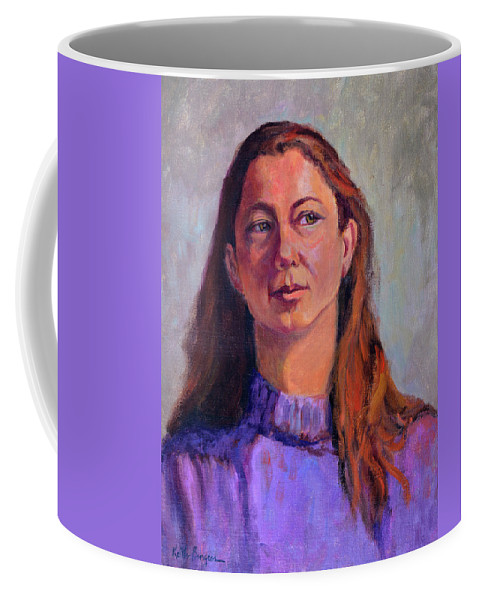 Portrait Coffee Mug featuring the painting Girl In Purple by Keith Burgess